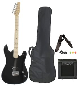 Davison Guitars Full Size Black Electric Guitar with Amp, Case and Accessories Pack Beginner Starter Package