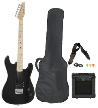 full size black electric guitar with amp case and accessories pack beginner starter package. Black Bedroom Furniture Sets. Home Design Ideas