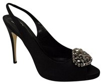 Delman Silk Peep Toe Jewel Accent Dress 1009133f Blacks Pumps