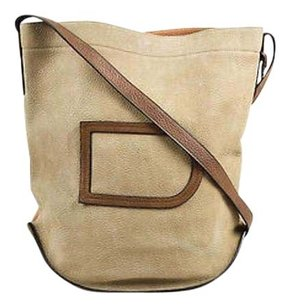 Delvaux Brown Suede Leather Two Toned Cross Body Bag