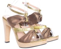 Derek Lam Platform Wooden Gold Made In Italy Designer Heels Bronze Sandals