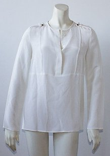 Derek Lam 100 Silk Long Top White
