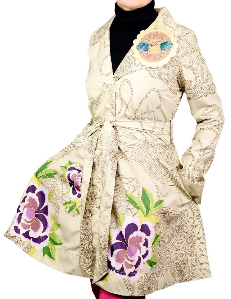 Designs 12 Beige l Tradesy Coat Floral Desigual Size Bwn8qXwE