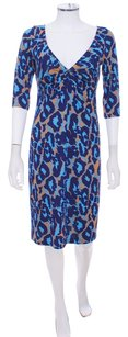 Diane von Furstenberg Brown Print Blue Knit Leopard Stretchy Dress