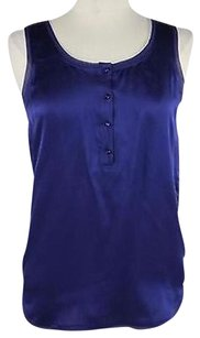 Diane von Furstenberg Womens Solid Sleeveless 100 Silk Top Blue