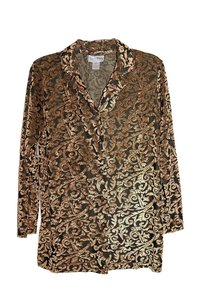 Diane von Furstenberg Woven Long Sleeve Velvet Button Down Shirt Gold Brown