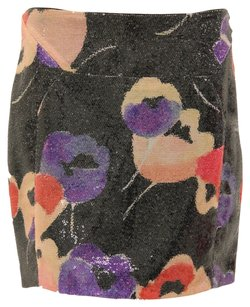 Diane von Furstenberg Sequin Floral Mini Date Night Going Out Mini Skirt Multicolor