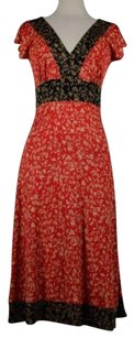 Diane von Furstenberg Womens Black Red Floral Short Sleeve Silk Dress