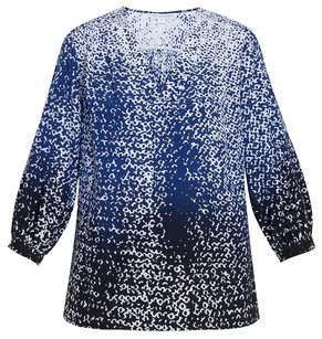 Diane von Furstenberg Silk Leopard Animal Print Tunic Top Blue, Black, White