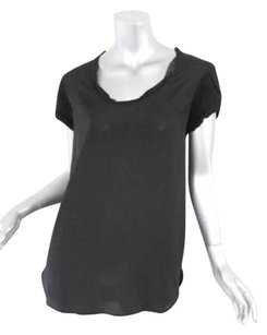 Diane von Furstenberg Black Silky Chiffon Short Sleeve Shirt Top