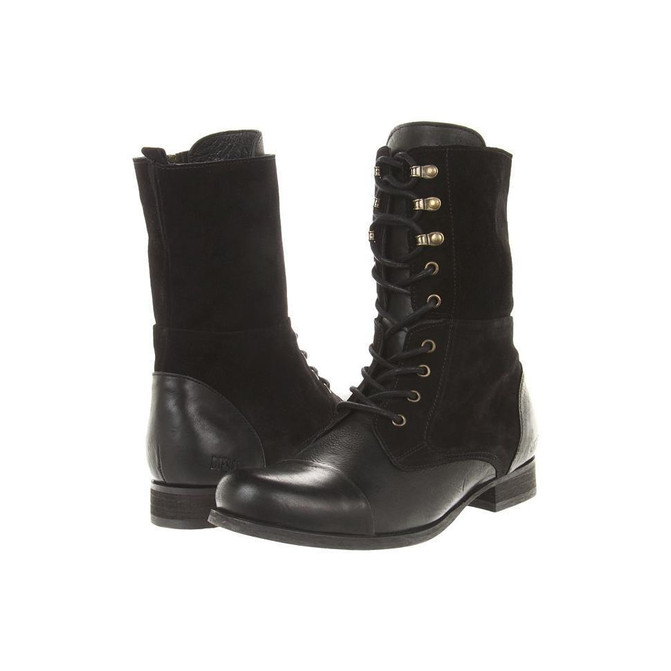 Diesel Italian Suede Leather Distressed Lace Up BLACK Boots ...