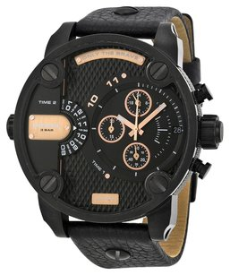 Diesel Diesel DZ7291 Men's Little Daddy Dual Time Chronograph Black Dial Leather Watch