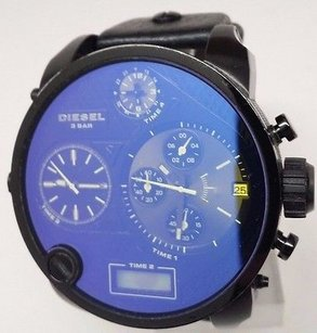 Diesel Diesel Mens Mr Daddy Black Leather Dual Time Watch Dz7127 Time 2 3 Broken