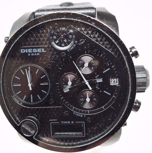 Diesel Diesel Mr. Daddy Oversized Black Dial Black Leather Mens Watch Dz7193 51mm