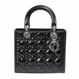 Dior Christian Lady Patent Tote in Black