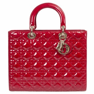Dior Christian Lady Patent Tote in Burgundy Red