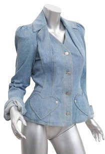 Dior Christian Boutique Womens Vintage Denim Heart 6fr Blue Jacket