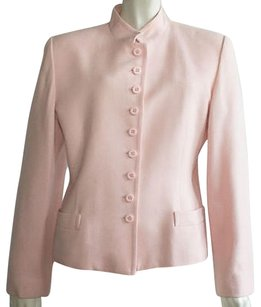 Dior Christian 100 Wool Fully Lined Stand Collar Hs828 Pink Jacket
