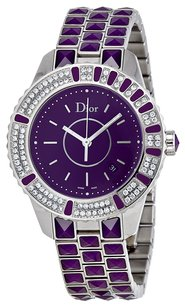 Dior Christal Diamond Purple Dial Ladies Watch CD11311JM001