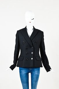 Dior Christian Dior Black Wool Double Breasted Flared Long Sleeve Blazer Jacket