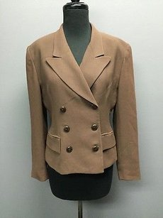Dior Christian Dior Brown Front Button Poly Long Sleeve Professional Blazer 288a