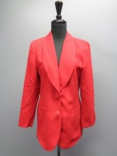 Dior Christian Dior Red Long Sleeved Solid Button Lined Suit Blazer Sma8886