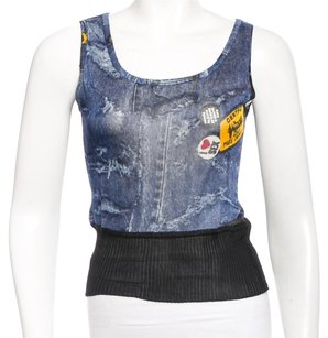 Dior Denim Diorissimo Sleeveless Monogram Gold Hardware Top Blue, Black