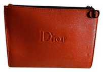 Dior Dior Red Faux Leather Makeup Cosmetic Bag Case