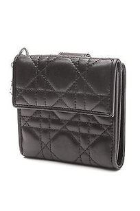 Dior Christian Dior Black Cannage Quilted Lambskin Compact Wallet