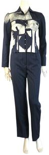Dior JOHN GALLIANO for CHRISTIAN DIOR articulated pinstripe suit with overprint US 4