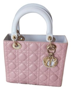 Dior Lady Lambskin Satchel in Light Pink , Pink , Light Grey ( Tricolor )