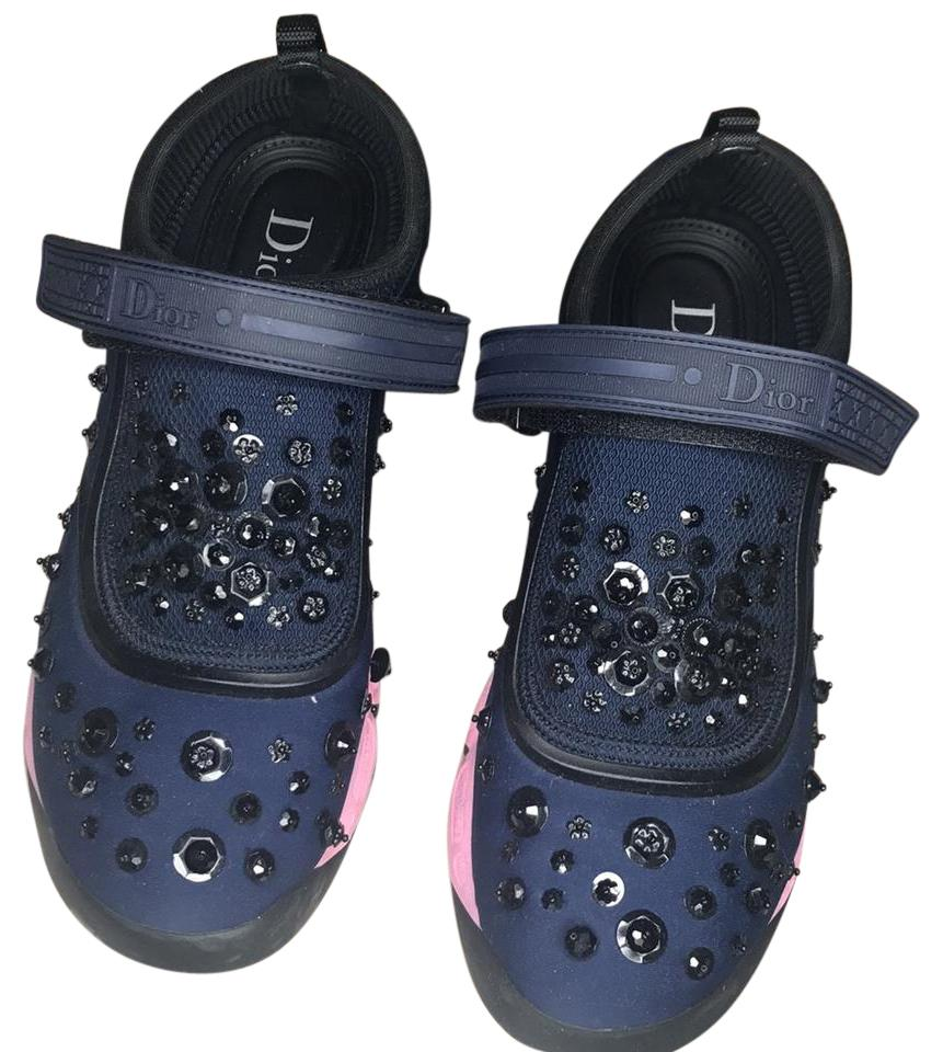 Dior Pink Dark Blue Black Women's Trainer Sneakers Size US 7 Regular (M, B)