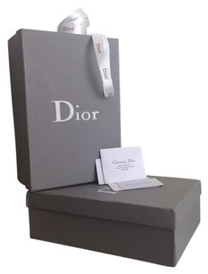 Dior set of 2 shoe boxes with care cards and gift ribbon