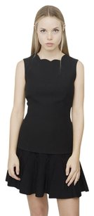 Dior Christian Scallop Neck Wool Silk Sleeveless Tank 408 Top Black