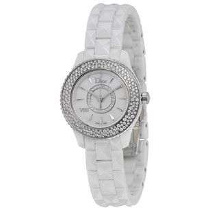 Dior VIII Mother of Pearl White Ceramic Diamond Ladies Watch CD1221E4C001