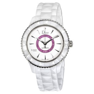 Dior VIII White Dial Ceramic Ladies Watch CD1245EFC001