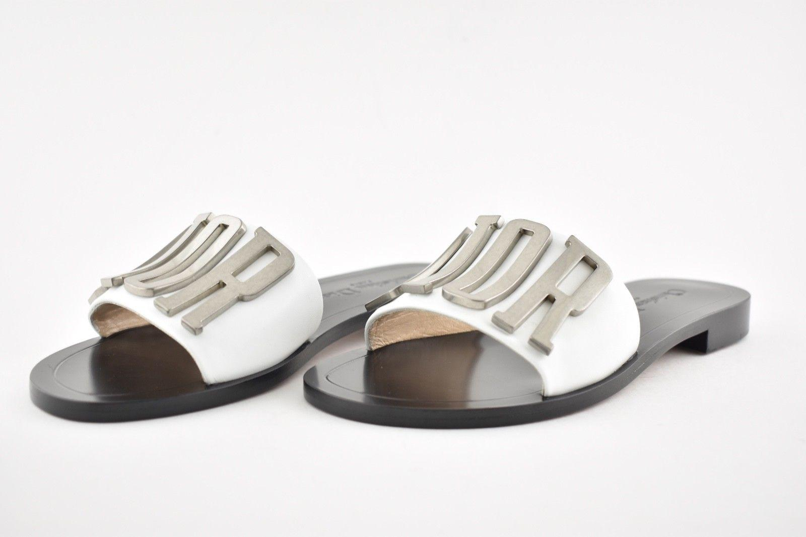 e3cdbe7fa5 ... Dior White Black Silver Logo Logo Logo Diorevolution Leather Mule Slide  Flat Sandals Size EU 36 ...