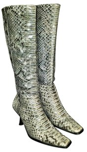 Divina Python Snakeskin Exclusive Leather Blue Grey Beige Boots