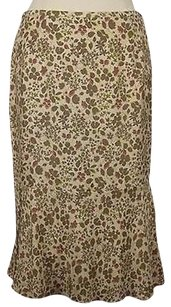 DKNY City Womens Beige Floral Silk Lined Career Skirt Multi-Color