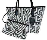 DKNY Public School Creators Design Crosswalk Print Logo Tote in Black White