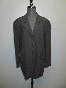 DKNY Dkny Black Wool Lined Long Button Down Collared Blazer Jacket Sm4989