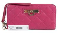 DKNY Dkny Cherry Nappa Lambskin Leather Zip Around Tech Wristlet Wallet