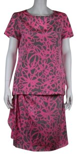 DKNY Dkny Womens Three Piece Skirt Suit Pink Gray Printed Cami Top Skirt