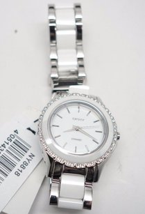 DKNY Dkny Womens White Ceramic And Stainless Steel Bracelet Watch 32mm Ny8818