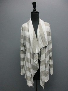 DKNY White Gray Striped Long Sweater