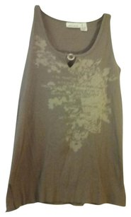 DKNY Sleeveless Scoop Neck Top Brown/khaki