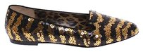 Dolce&Gabbana Nude Ysl Tribtoo Black Gold Sequined Ballet Flat Shoes Flats
