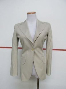 Dolce&Gabbana Dolce And Gabbana Tan Long Sleeve Button Front Collared Blazer 26954