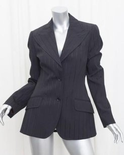 Dolce&Gabbana Dolce Gabbana Womens Black Long-sleeve Striped Two-button Blazer Jacket 448