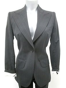 Dolce&Gabbana Dolcegabbana Charcoal Wool Pinstripe Pants Suit W Abstract Lining -